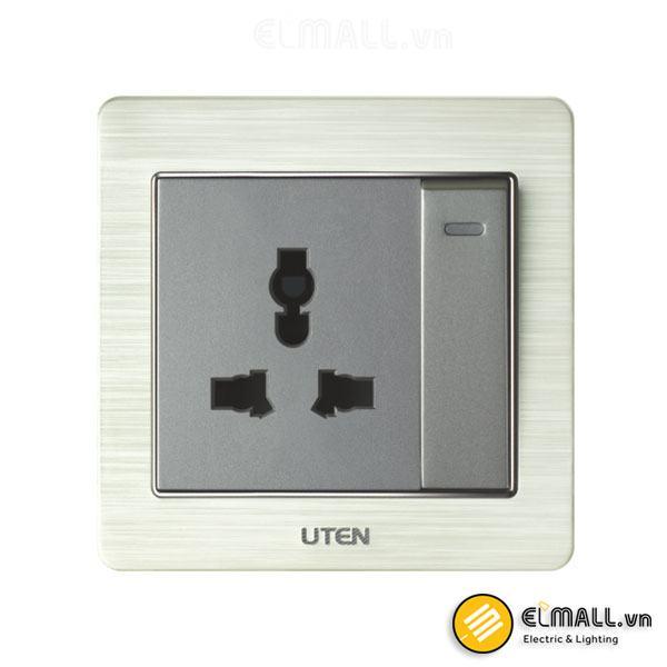 Bộ công tắc 1 chiều và ổ cắm 3 chấu Uten V6-PGK11Z13/N