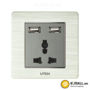 Bộ ổ cắm 3 chấu và ổ cắm USB Uten V6-Z13/2NU